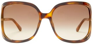 Jimmy Choo Tilda Square Tortoiseshell-acetate Sunglasses - Womens - Tortoiseshell