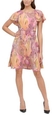 Tommy Hilfiger Paisley-Print Double Twill Fit & Flare Dress