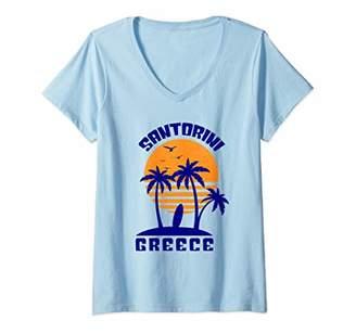 Santorini Womens Shirt Greece Beach Souvenir Gift V-Neck T-Shirt