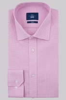 Moss Bros Slim Fit Pink Single Cuff Houndstooth Shirt