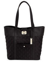 Cesca Women's Oversized Tote in Double Quilted Nylon With Front Pocket and Turnlock Detailing - Black