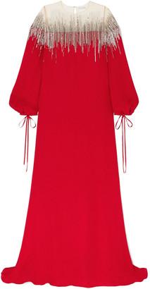 Oscar de la Renta Oversized Sequin-embellished Tulle And Silk-crepe Gown
