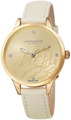 Akribos XXIV Ladies Diamond Floral White Leather Strap Watch