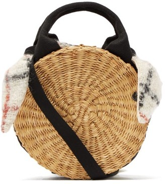 Muun Rosa Checked Mohair And Straw Bag - Womens - Brown Multi