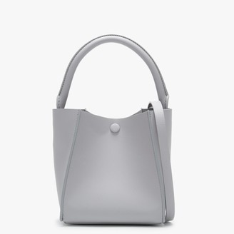 Sophie Hulme Nano Cube Light Grey Leather Shoulder Bag