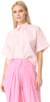 Vika Gazinskaya Short Sleeve Checked Blouse