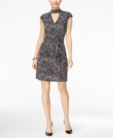 INC International Concepts Petite Printed Mock-Neck Dress, Only at Macy's