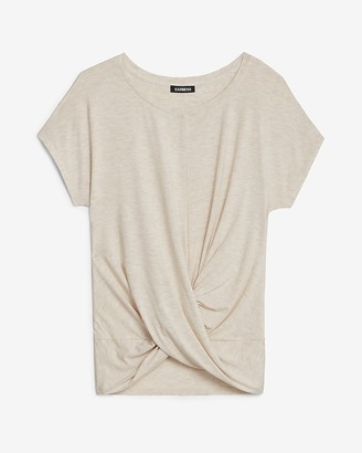Express Heathered Twist Front Crew Neck Tee