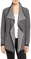 Chaus Women's Jacquard Knit Drape Front Cardigan