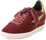 Ash Guepard Suede Hidden-Wedge Sneaker, Barolo/Gold