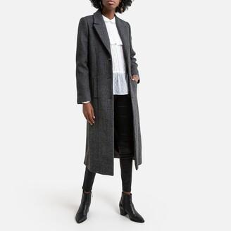 Naf Naf Long Belted Coat in Cotton Mix