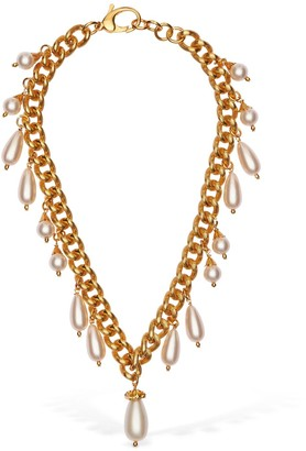 Moschino Imitation Pearl Short Chain Necklace