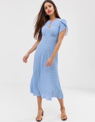 Ghost Pixie crepe floral midi dress-Blue