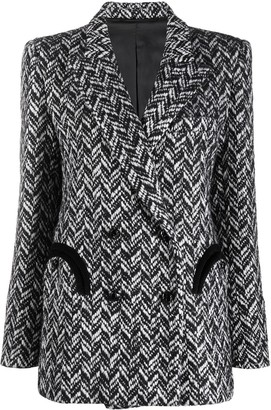 BLAZÉ MILANO Chevron Knit Double-Breasted Blazer