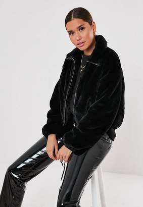 Missguided Black Cropped Faux Fur Bomber Jacket