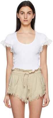 See by Chloe White Lace Embellished T-Shirt