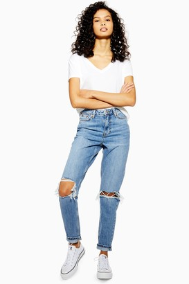 Topshop Womens Tall Rip Mom Mid Stone Jeans - Mid Stone