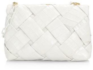 Nancy Gonzalez Small Woven Crocodile Frame Clutch