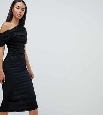 Asos Tall DESIGN Tall pleated shoulder lace midi dress-Black