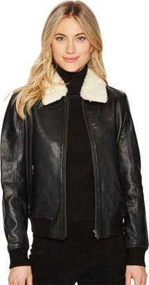 BB Dakota Women's Burgess Sherpa Collar Leather Jacket