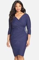 Alex Evenings Plus Size Women's Embellished Side Ruched Jersey Cocktail Sheath Dress
