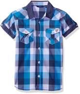 GUESS Big Boys' Ss Buttoned Plaid Shirt