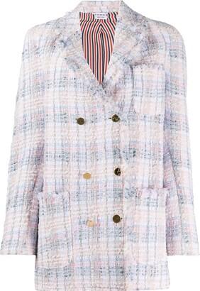 Thom Browne DB Sack Jacket w/ Fray In Chenille Yarn Ribbo Tweed