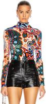 Paco Rabanne Paisley Jacquard Knit High Neck Top in Orange & Blue Flower | FWRD