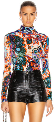 Paco Rabanne Paisley Jacquard Knit High Neck Top in Orange & Blue Flower | FWRD