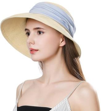 Cloche Packable Wide Brim Floppy Straw Panama Sun Hat Derby SPF 50 for Women Travel Beige