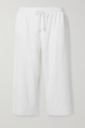 Skin Yulia Cropped Textured Cotton-blend Terry Pajama Pants - White
