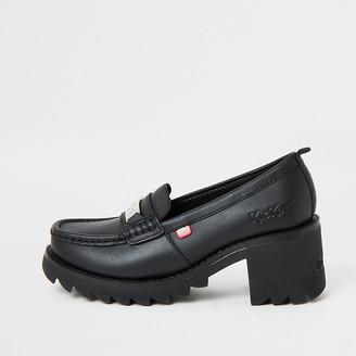 Kickers black Klio chunky heel loafers