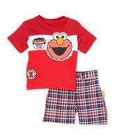 Children's Apparel Network Sesame Street Elmo Red Tee & Plaid Shorts - Infant