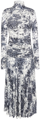 Victoria Victoria Beckham Pleated Printed Stretch-jersey Midi Dress