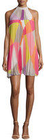 Trina Turk Sleeveless Mod-Print Pleated Dress