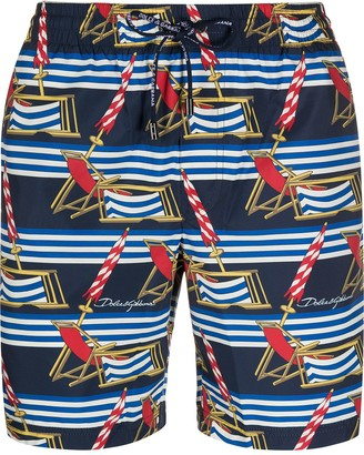 Dolce & Gabbana Beach Chairs Print Swim Shorts