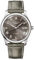 Longines L27934713 Master Collection Automatic Date Leather Strap Watch, Grey