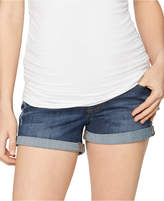Luxe Essentials Cuffed Denim Maternity Shorts