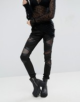 Tripp NYC Fishnet Panel Cut Out Jean