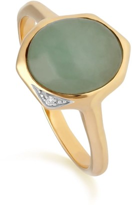Gemondo Irregular Dyed Green Jade & Diamond Ring