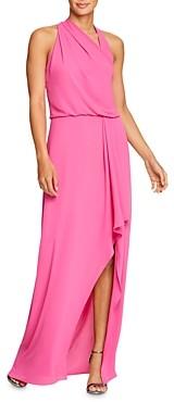 Halston Draped Asymmetric Georgette Gown