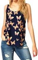 Susenstone 1PC Women Butterfly Print Sleeveless Chiffon Tank Top Shirts Crew Vest (S)