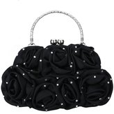 Lynmiss Yovente Satin Rose Rhinestone Pure Color Handbag Ladies Evening Party Clutch Bag with Yovente Gift Card