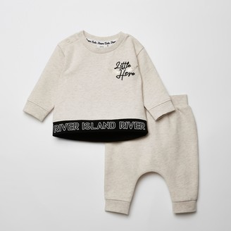 River Island Baby Cream 'Little hero' sweatshirt outfit