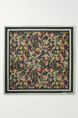 Isabel Marant Floral-print Silk Scarf - Black