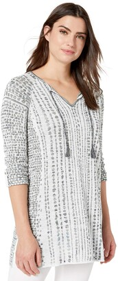 Nic+Zoe Women's Plus Size Natural Instinct Jacquard TOP