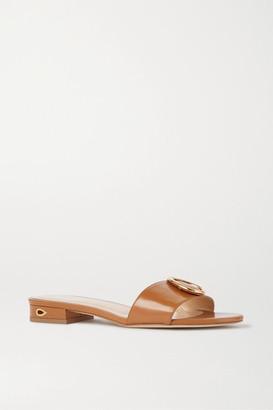 Jennifer Chamandi Andrea Embellished Leather Sandals - Tan