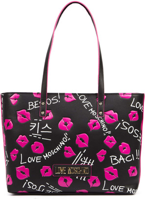 Love Moschino Baci Baci Black Faux Leather Shopper Bag