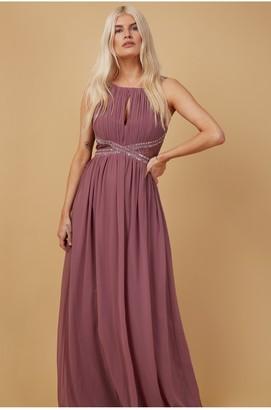 Little Mistress Bridesmaid Lauren Mauve Lace Insert Maxi Dress With Keyhole
