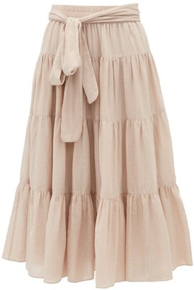 Loup Charmant Demeter Tiered Cotton-poplin Midi Skirt - Womens - Light Pink